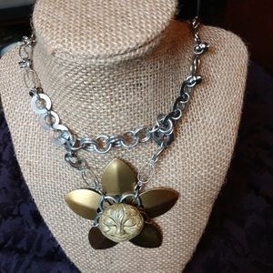 Ceramic sun pendant chainmail necklace OOAK NWT